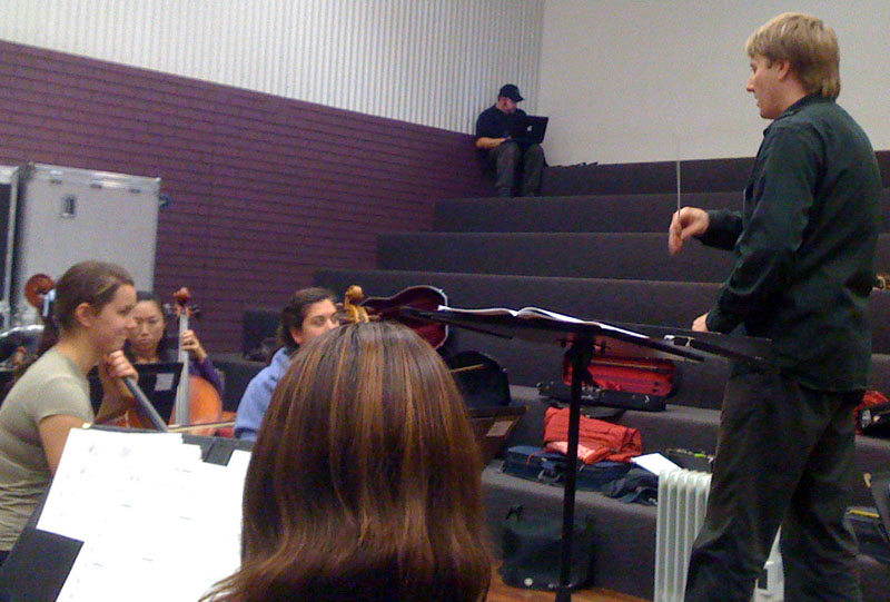 Orchestra Victoria Guest Conductor, Ben Northey, addressing the cellos