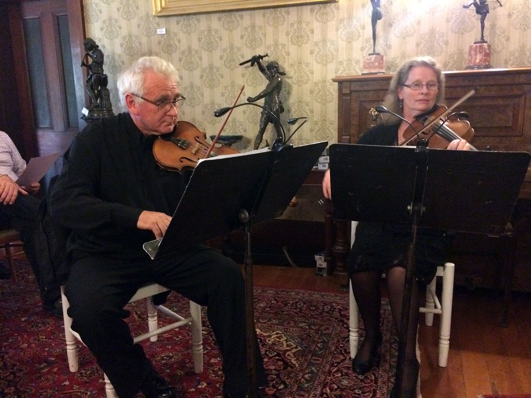 Two members of the string quartet for Bonshaw - Peter Read and Wendy Oakes