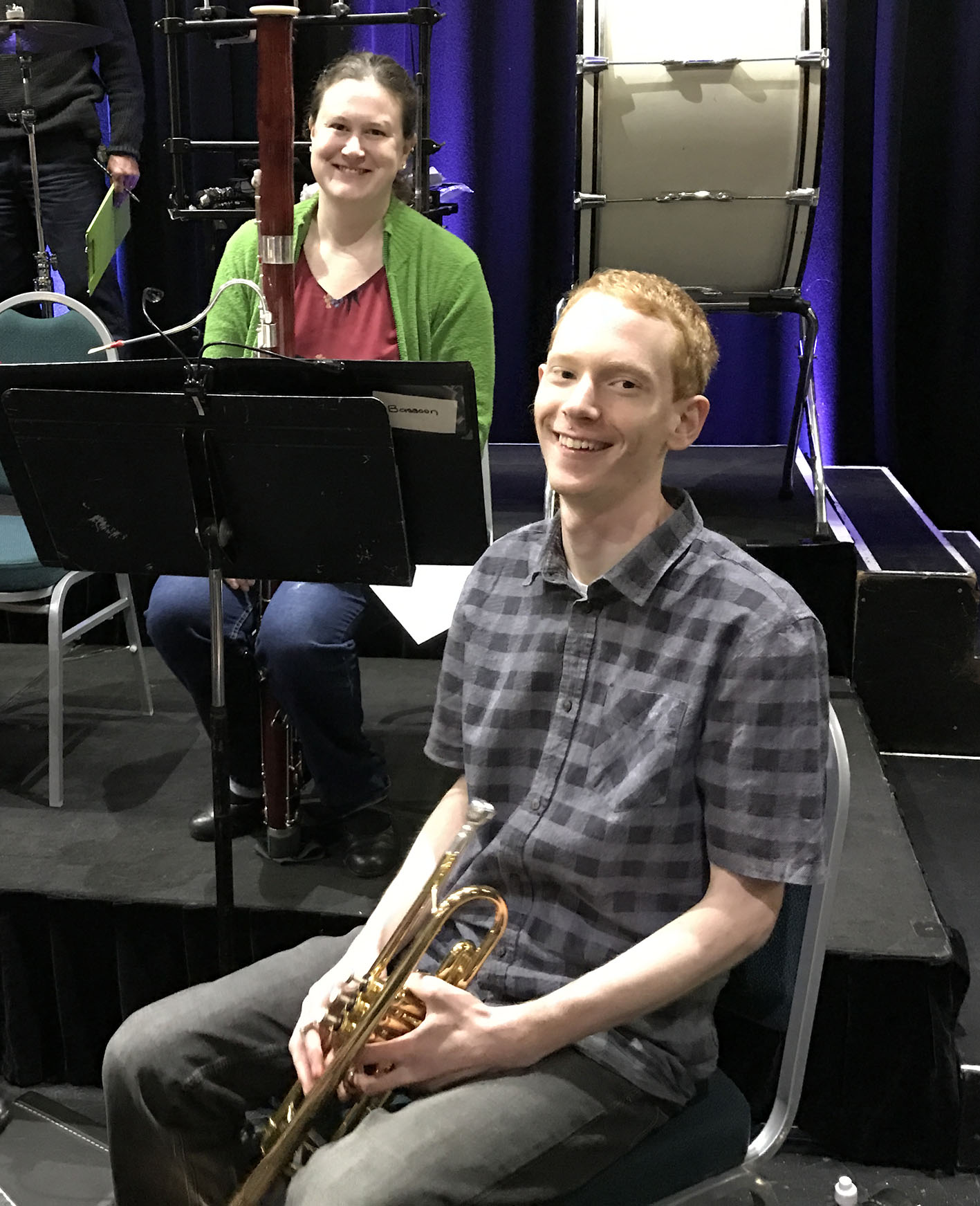 Nyree O'Connor, bassoon, and Caleb Noller, trumpet