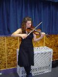 Grace Russell on violin? Waiting to go on before the 10th anniversary concert held in Westside, 23rd June 2007