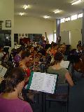 Paul Thorsen and other members of the orchestra at rehearsal for the Shepparton Carols by Candlelight.