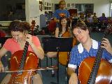 Some silly cellists, Angela Carnovale, Grace Russell and Renee Rankin.