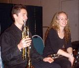 Josh and Victoria, two trumpeters in the GVCO Wind Ensemble