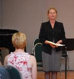 Wendy Oakes introducing one of the items at the third chamber concert