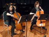 Demi Wood and Emma King playing in the Cello Quartet