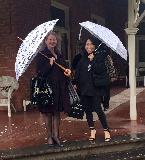 Wendy and Demi outside Bonshaw with music umbrellas