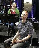 Nyree O'Connor on bassoon and Caleb Noller on trumpet