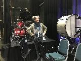 Wendy Oakes finding the humorous side of the drum kit!