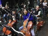 Cellos - Demi Wood, Kerry Jennings and Leona Sterling - also Jaydan Livingstone on double bass and Bruce Sterling on viola