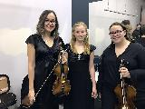 Emily Hunter, violin, Lily Robinson, violin and Lira Cross, viola