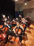 The cellos and basses in the string ensemble - Demi Wood, Kerry Jennings, Emma King, Luisa De Bruin, Peta Keller and Ryan Bhat, with Charlotte Drinnan and Jaydan Livingstone on double bass