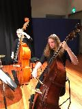 The bass section of the string ensemble, Charlotte Drinnan and Jaydan Livingstone. Jaydan also had a solo in the piece entitled All About that Bass