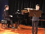 Imre Gontier playing a flute solo, Allegro spiritoso by Johann Joachim Quantz arr. by Charles Smith, accompanied by Wade Gregory