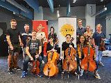 Affinity Quartet - Nick Waters, violin, Ioana Tache, violin, William Clark, viola, and Mee Na Lojewski, cello, are seen here with members of GVCO, Wendy Oakes, Phil Oakes, Rechelle Zammit, Kerry Gawne, Wade Gregory, Keri Jennings and Demi Wood, after their workshop at La Trobe Uni, Shepparton on Sunday 15th March 2020. Thanks also to Carole McGregor, who took this photo.